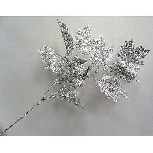 Vetvička MagicHome Vianoce, MapleGlis.Silver, strieborná, 65 cm