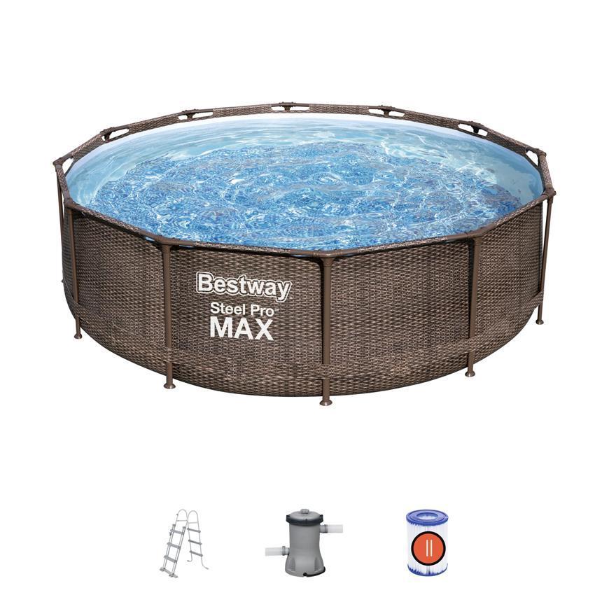 Bazén Bestway® Power Steel™ Deluxe Series™, 56709, vzor ratan 366x100 cm, filter, rebrík