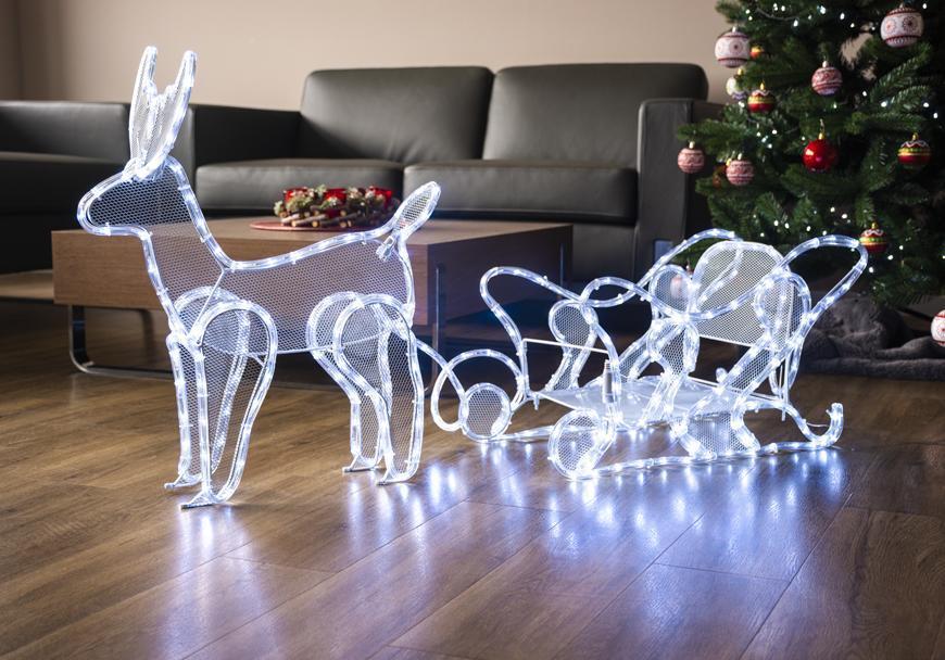Dekorácia MagicHome Vianoce, Sob so saňami, 312 LED studená biela, 230V, 50 Hz, exteriér, 59x132x30