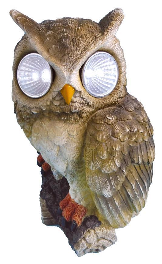 Dekoracia Gecco 7394, sova s očami, polyresin, 22 cm, solar LED