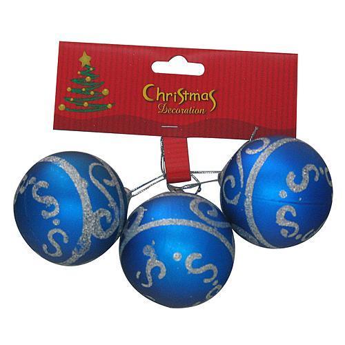 Gule MagicHome Vianoce, 3 ks, modré so strieborným ornamentom