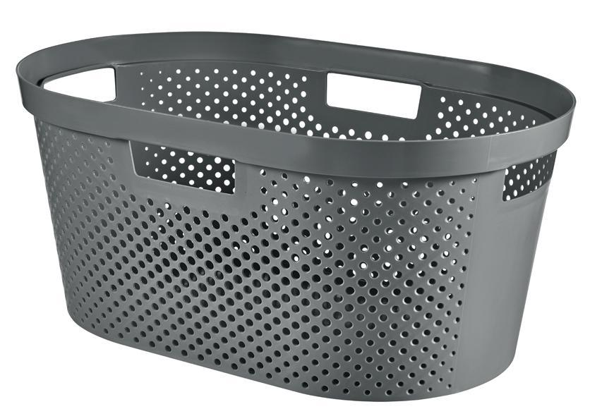Kôš Curver® INFINITY RECYCLED 40L, antracit, 59x39x27 cm, na bielizeň, prádlo