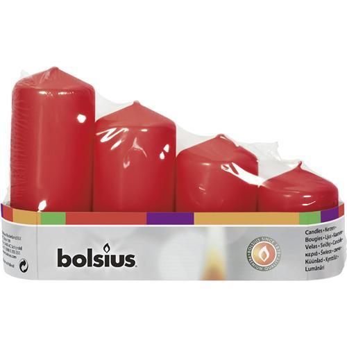 Sviečky bolsius Pillar Advent, červené, 48 mm 60/80/100/120 mm bal. 4 ks
