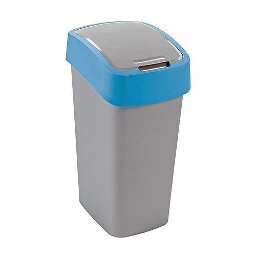 Kôš Curver® FLIP BIN 10L, šedostříbrná/modrá, na odpad