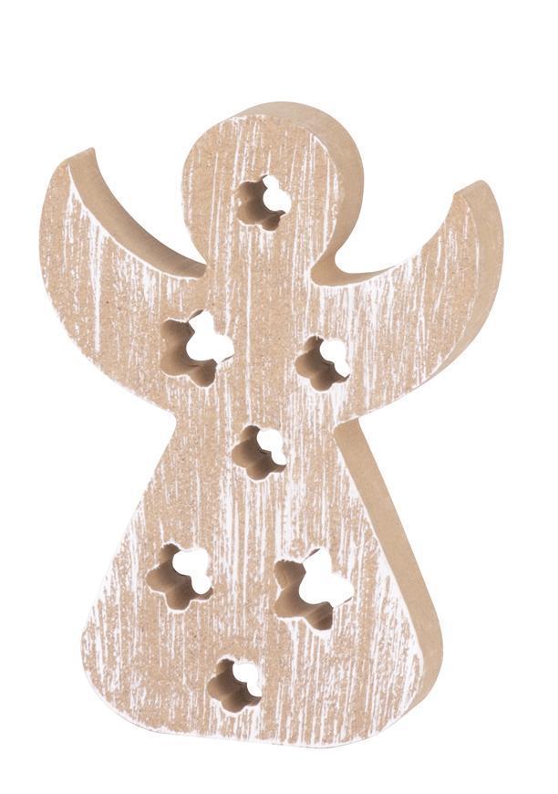 Dekorácia MagicHome Vianoce Woodeco, Anjel, bal. 5 ks,  11x8 cm