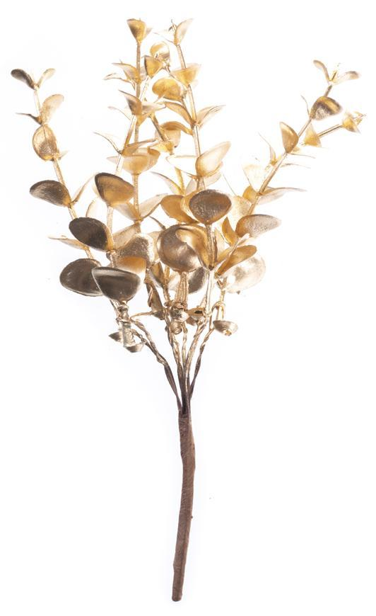 Vetvička MagicHome Vianoce, eukalyptus, zlatá, 15 cm, bal. 6 ks