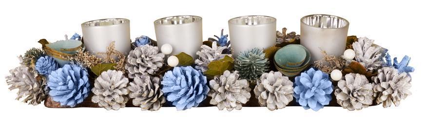 Ikebana MagicHome, prírodná, strieborné poháriky, L-45 cm, modrá, adventný