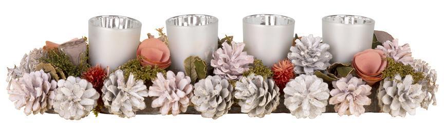 Ikebana MagicHome, prírodná, strieborné poháriky, L-45 cm, ružová, adventný