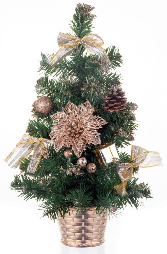 Stromček MagicHome Vianoce, ozdobený, bronzový, 30 cm