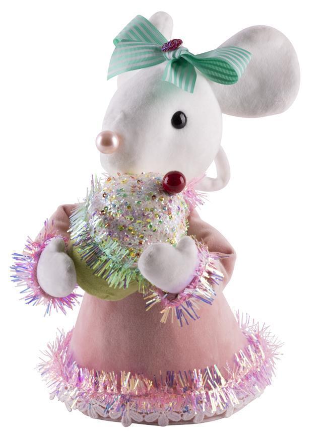 Dekorácia MagicHome Candy Line, myška, ružová, 27 cm