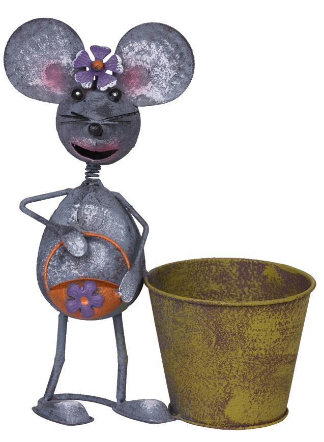 Dekoracia Mecco 2394, Myška s hrncom, 30 cm, plech