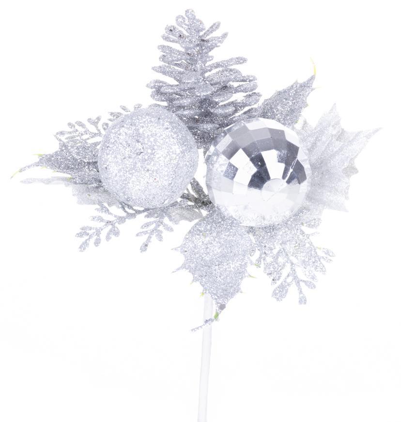 Vetvička MagicHome Vianoce, s jablkom, strieborná, 15 cm, bal. 6 ks