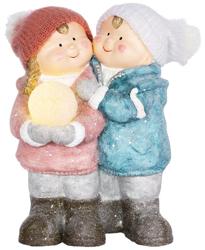 Postavička MagicHome Vianoce, Chlapček a dievčatko so snehovou guľou, 1 LED, keramika, 27,5x23x40 cm