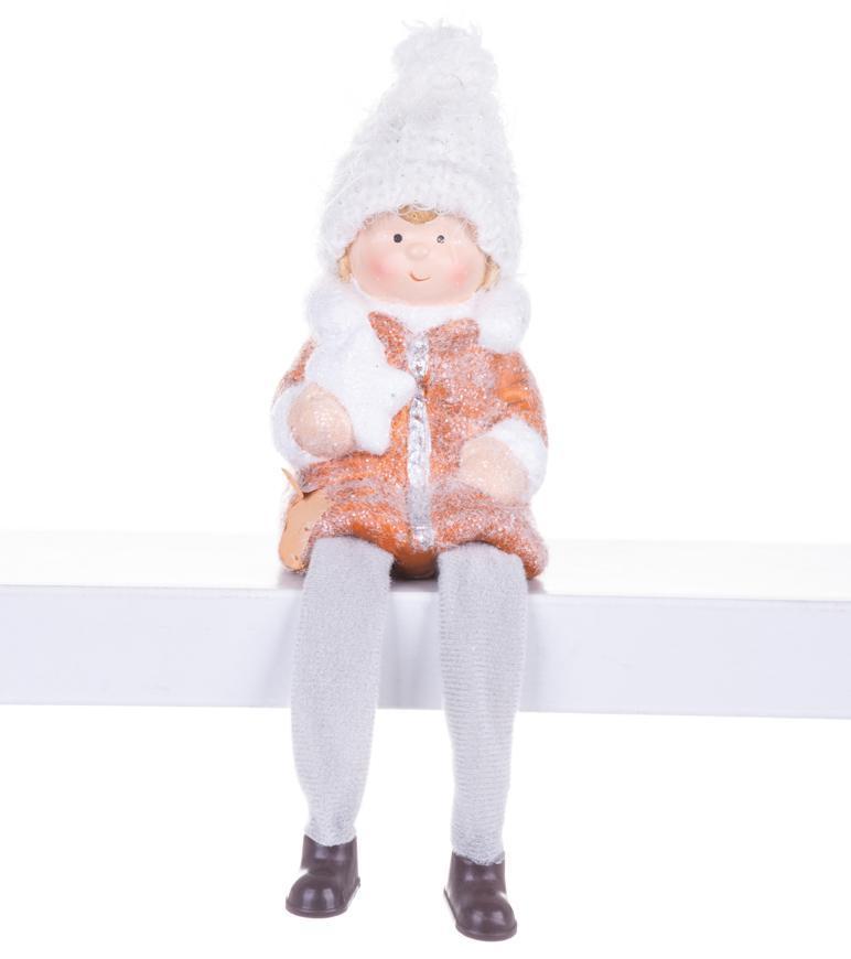 Postavička MagicHome Vianoce, Chlapček sediaci, terakota, 7,2x6,7x12 cm