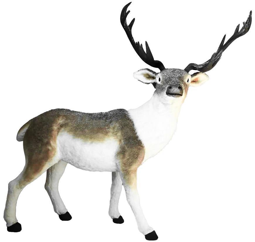 Dekorácia MagicHome Vianoce, Jeleň hnedo-biely, 127x43x120 cm