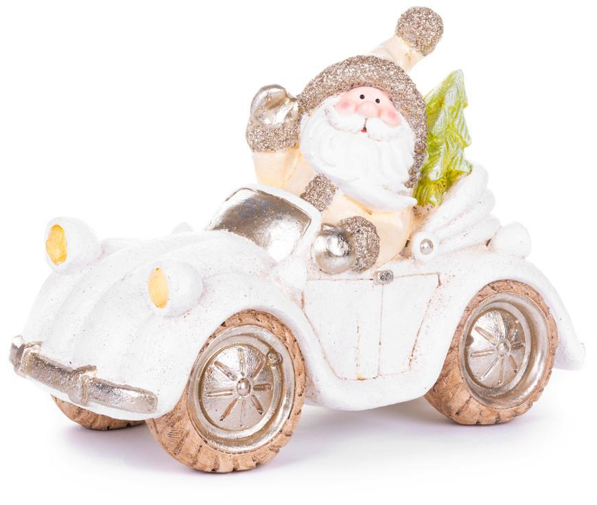 Dekorácia MagicHome Vianoce, Santa v aute, keramika, 46,50x19,50x31,50 cm