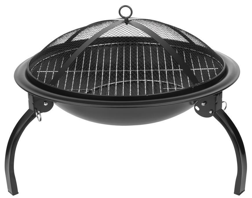 Ohnisko Strend Pro Homefire, BBQ, gril s roštom, na drevené uhlie, kovové, okrúhle, 545x400 mm
