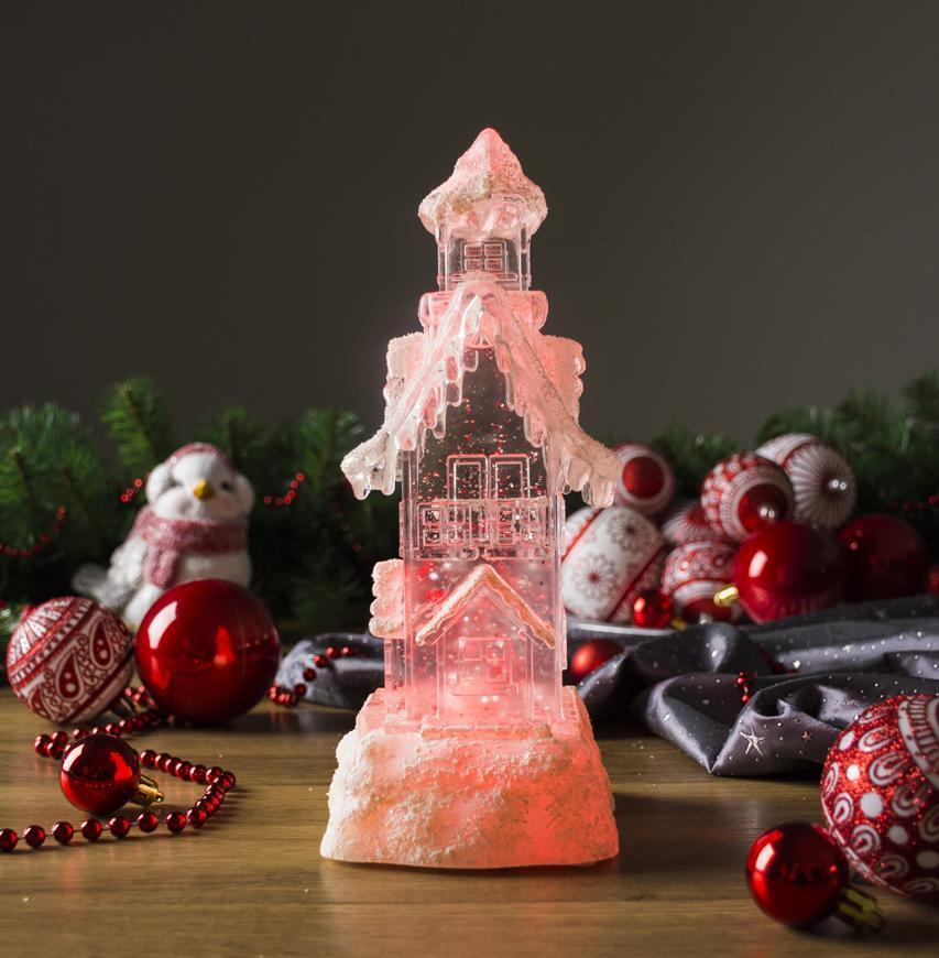Dekorácia MagicHome Vianoce, Domček, LED, meniaca farby, s plávajúcimi trblietkami, PE, 2xAA, 9,50x9