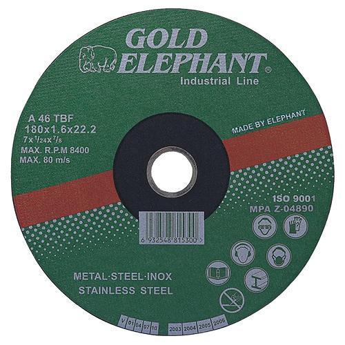 Kotúč Gold Elephant 41AA 125x1,0x22,2 mm, rezný na kov a nerez A46TBF