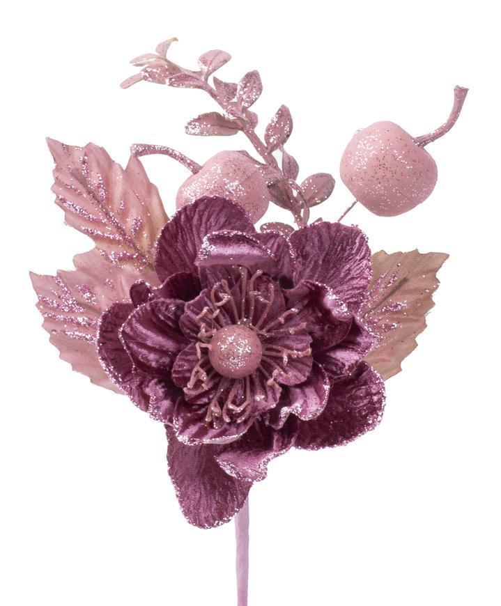Vetvička s kvetom, ružová, 22cm, 6 ks