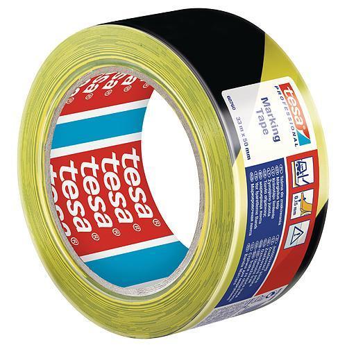 Paska tesa® PRO Marking, lepiaca, výstražná, žlto-čierna, 50 mm, L-33 m