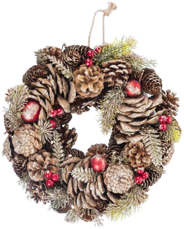 Veniec MagicHome Vianoce, so šiškami, čečina, závesný, 30x08 cm