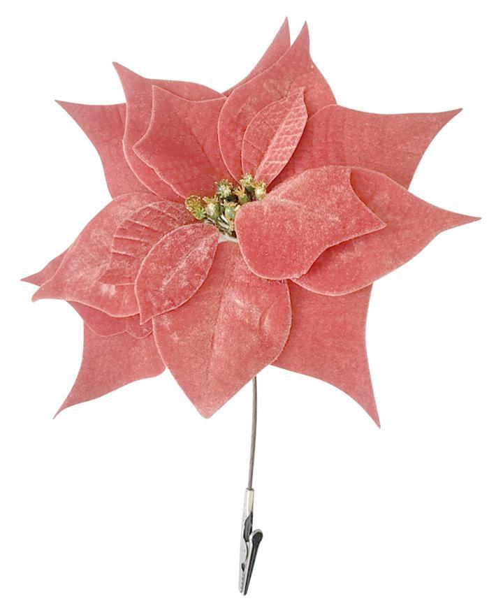 Kvet Poinsettia, so štipcom, ružový, 25x26cm, bal. 6 ks