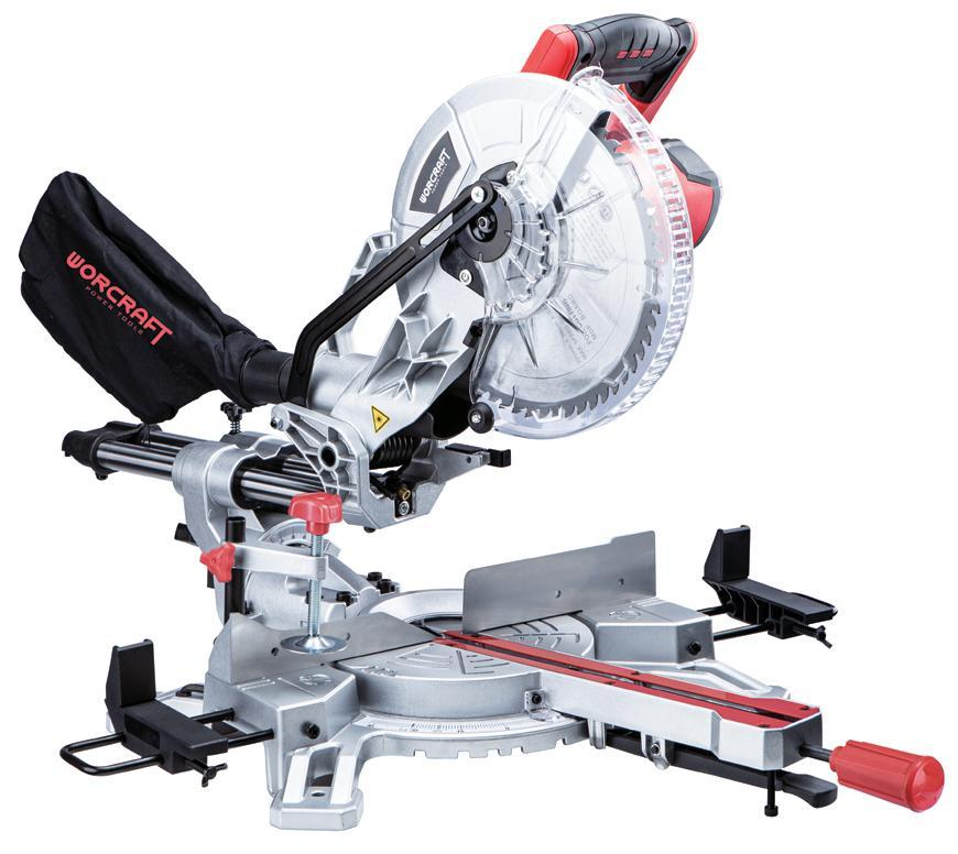 Píla Worcraft MS20-255, 2000W, 255x60T, 230V, pokosová s posuvom a laserom