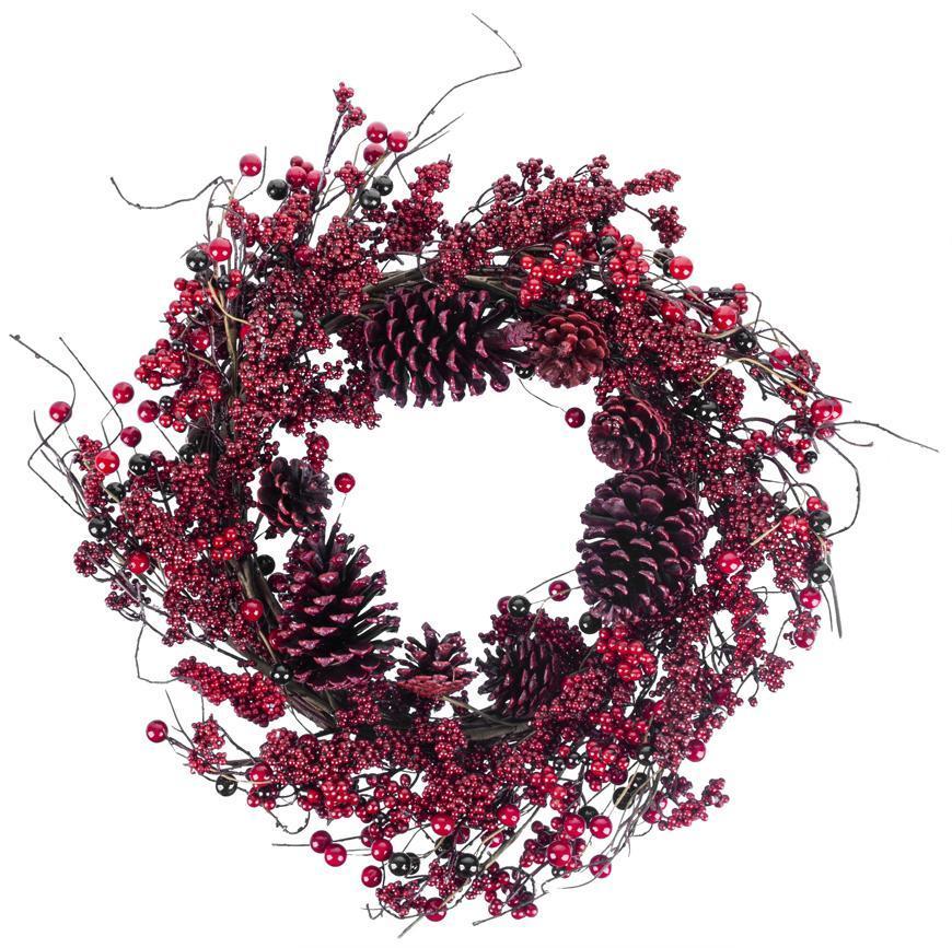 Veniec MagicHome Vianoce, z prútia, čečina, červený, 60x60x15 cm