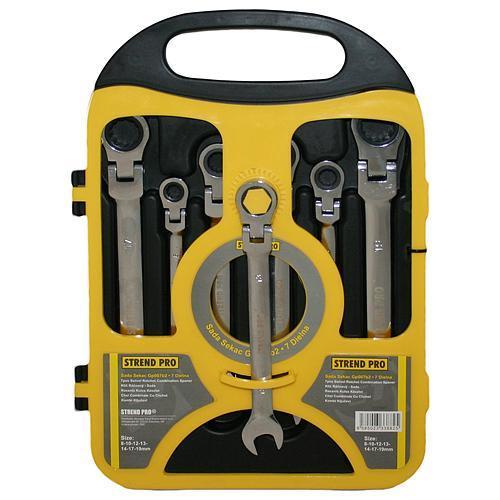 Sada kľúčov Strend Pro CSS819, 07 dielna, očkoploché, račňové s kĺbom, 8-19 mm