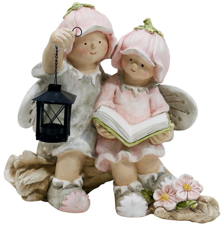 Dekoracia Gecco 9014, Chlapec a dievča, magnesia, 32,5*20,5*35 cm
