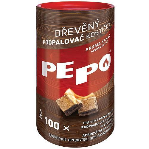 Podpaľovač PE-PO®, drevný, kocky, 100 podpaľov