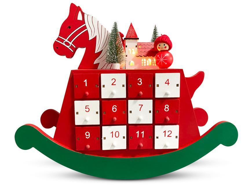 Dekorácia MagicHome Vianoce, Drevený adventný kalendár - koník, 2 LED, 2xAAA, 34,50x12x28 cm