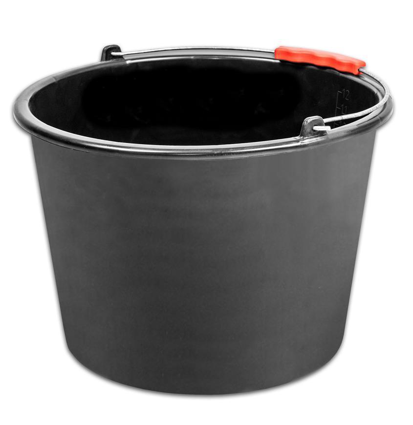 Vedro ReCycled® 20 lit, stavebné, plast, plastový úchyt, čierne