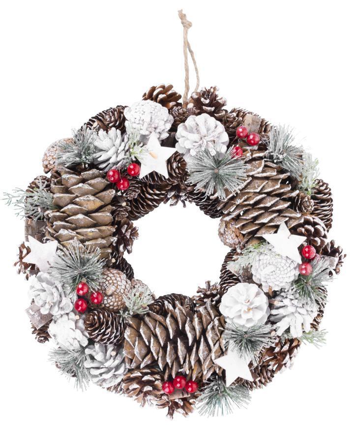 Veniec MagicHome Vianoce, prírodný, s bielymi šiškami, závesný, 37x9x37 cm