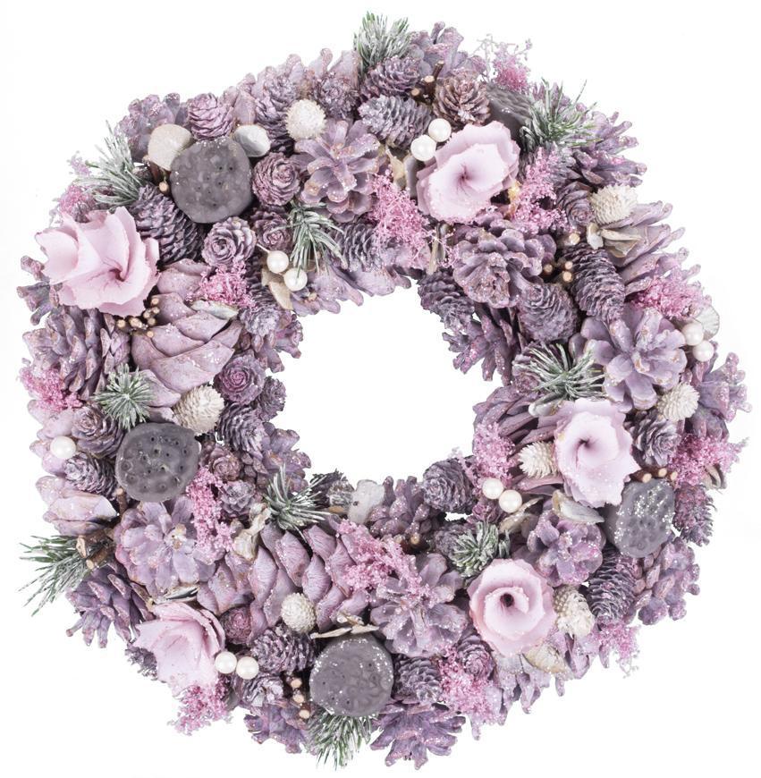 Veniec MagicHome Vianoce, ružový, 38 cm