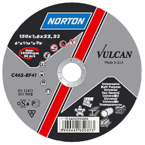 Kotúč NORTON Vulcan A 115x1,0x22 A60S-BF41, rezný na kov a nerez
