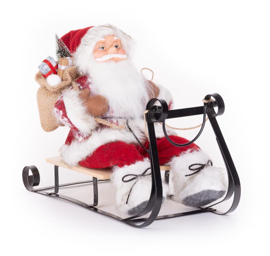 Dekorácia MagicHome Vianoce, Santa na sánkach, červený, 46 cm