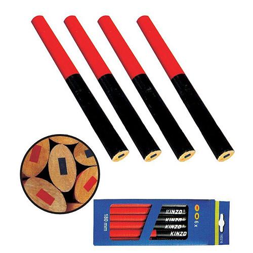 Ceruzka Strend Pro CP0658, tesárska, 175 mm, ovál, červená/modrá, bal. 12 ks