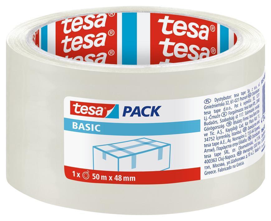 Paska tesa® BASIC, baliaca, základná, transparentná, 48 mm, L-50m