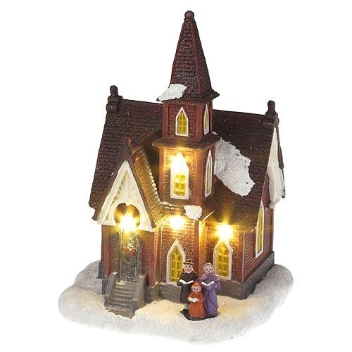Dekorácia MagicHome Vianoce, Kostol, 4 LED teplá biela, 3xAA, interiér, 12,50x12,30x18 cm