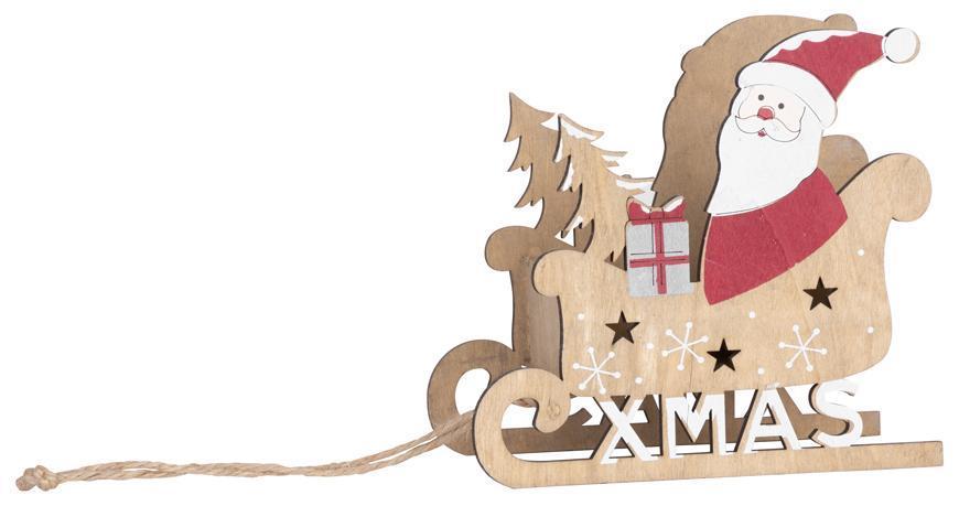 Dekoracia Woodeco 35007, Santa v saniach, 17x16x9 cm