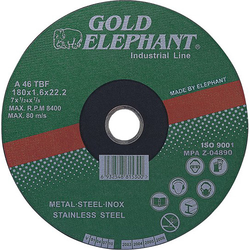 Kotúč Gold Elephant 41AA 115x1,0x22,2 mm, rezný na kov a nerez A46TBF