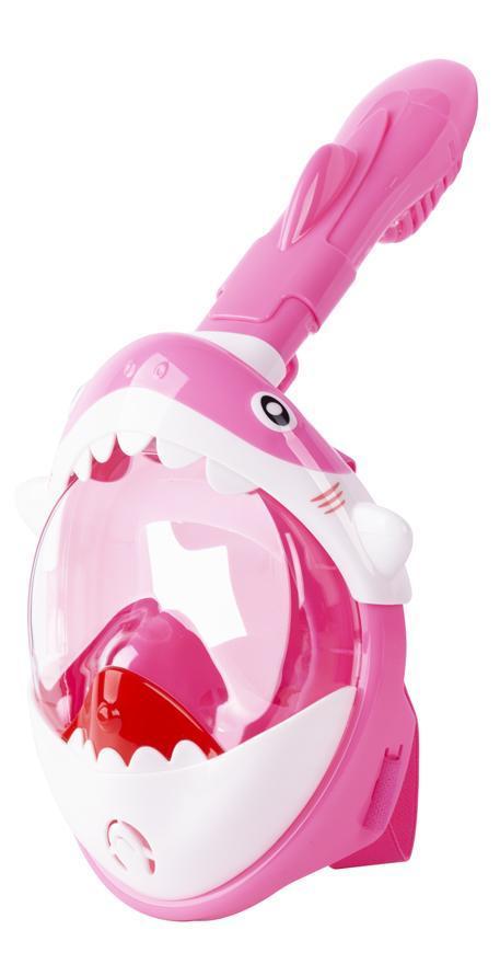 Maska šnorchlovacia Shark, celotvárová, pre deti 4+, XS, ružová