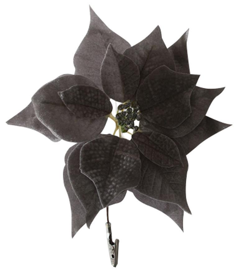 Kvet Poinsettia, so štipcom, strieborný, 25x26cm, 6 ks