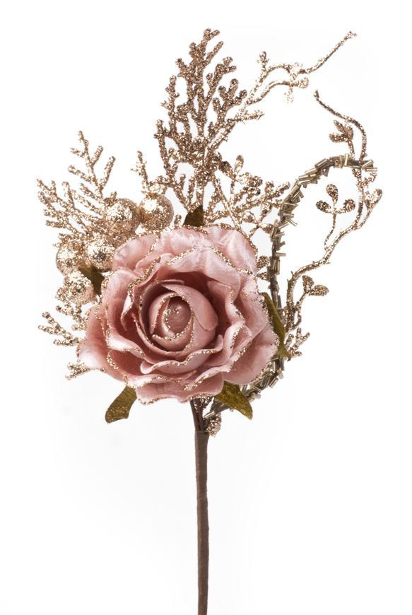 Vetvička s ružou, ružovo - zlatá, 26cm, 6 ks