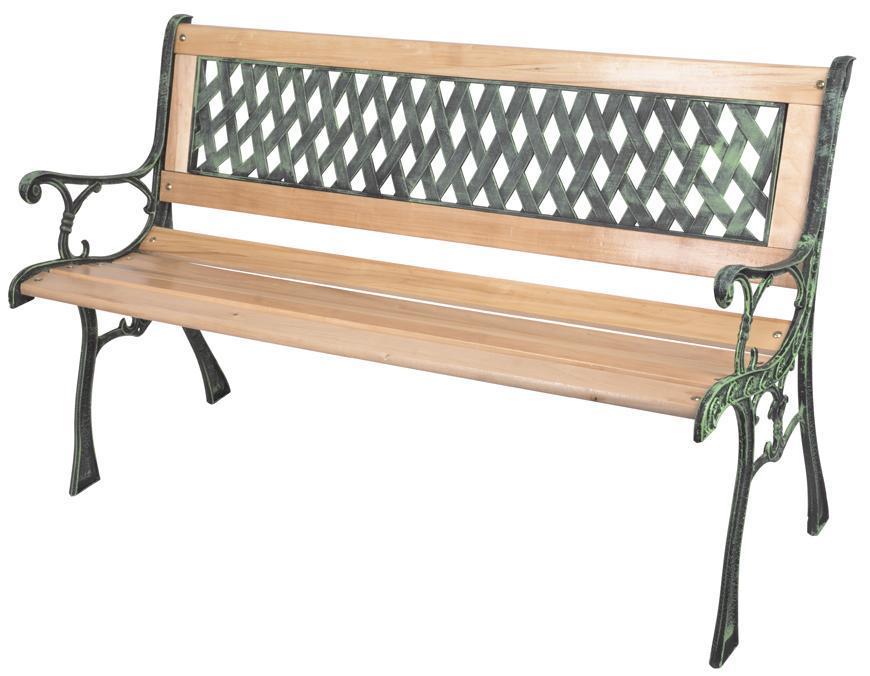 Lavička GODIVA, záhradná, drevo/plast, 122x54x73 cm