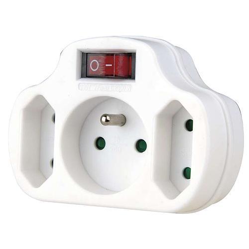 Zásuvka EMOS P0029, rozbočovacia, biela, 1× 2P + PE + 2× 2P, vypínač