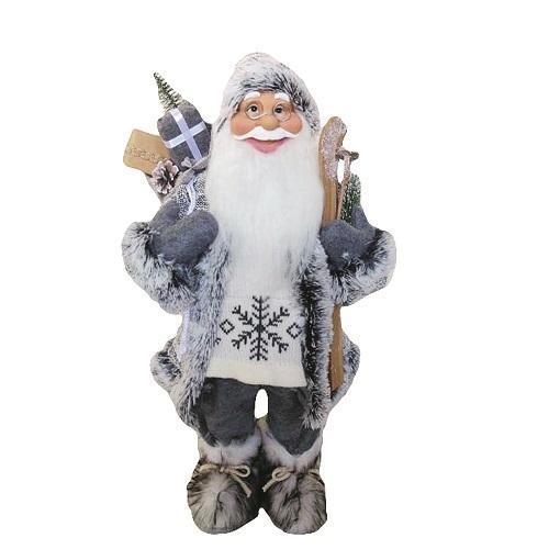 Dekorácia MagicHome Vianoce, Santa stojaci, s lyžami, 60 cm
