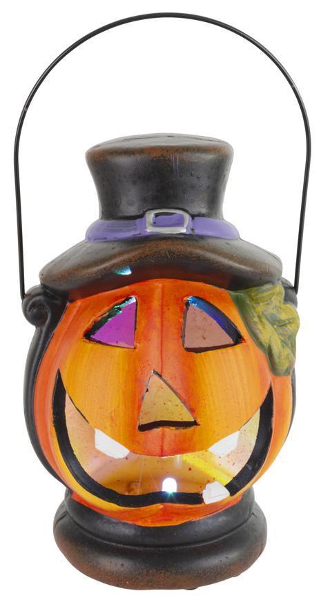 Dekorácia MagicHome Nature, Lampášik tekvica LED, s klobúkom, keramika, 15 cm